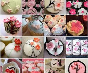 cherry blossoms, cupcakes, and food image