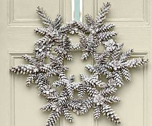 pinecone, wreath, and snow flake image