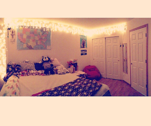 bed room, bright, and christmas lights image