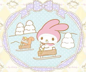 my melody, sanrio, and snow image