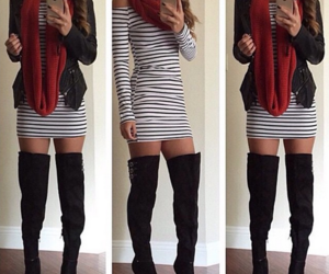 boots, dress, and outfit image