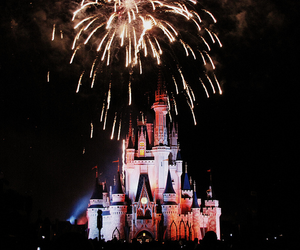 disney world, fireworks, and cinderella's castle image
