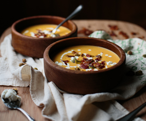 butternut squash, soup, and goat cheese image