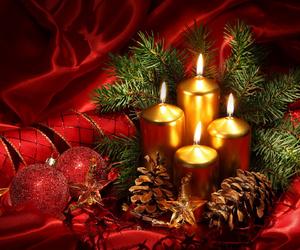 candles, red, and christmas ball image