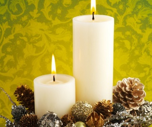 candles, fir-cone, and new year image