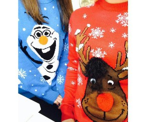 reindeer sweater, olaf sweater, and red christmas sweater image