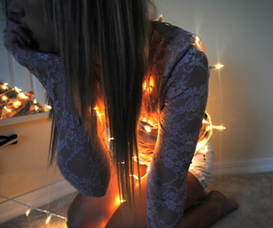 blond, lights, and girl image