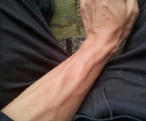 boy, veins, and cigarette image