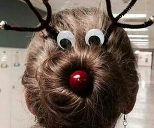 hair, christmas, and reindeer image
