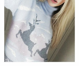 straight blonde hair, reindeer sweater, and light blue sweater image