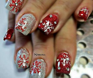 red, silver, and snowflakes image