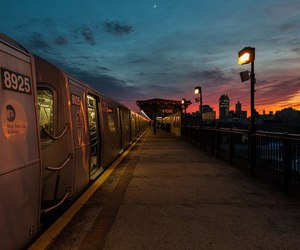 sky, sunset, and train image