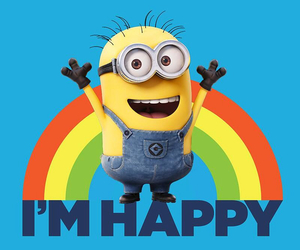 minions, happy, and rainbow image