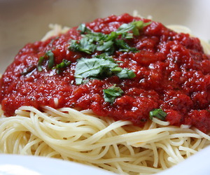 spaghetti, food, and pasta image
