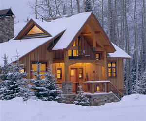 snow, cabin, and house image