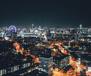 city lights, london, and night image
