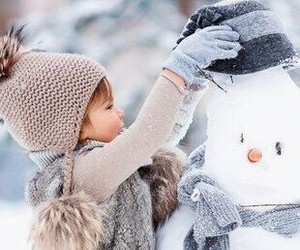 beautiful, snow, and child image