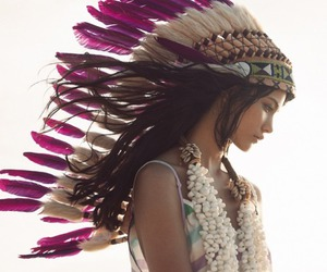 girl, feathers, and indian image