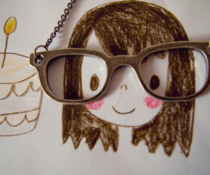 cute, glasses, and drawing image