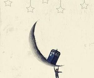 doctor who, tardis, and moon image