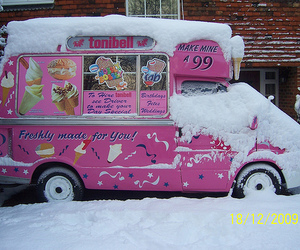 ice cream, pink, and snow image