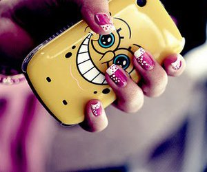 nails, spongebob, and phone image