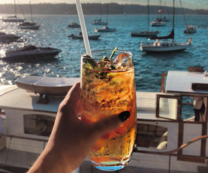 cocktail, drink, and sea image