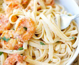 shrimp, pasta, and food image