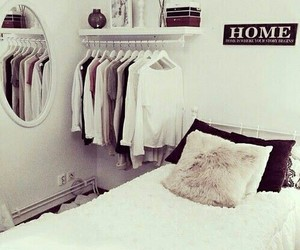 bed, bed room, and closet image