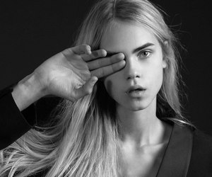black and white, blond, and model image