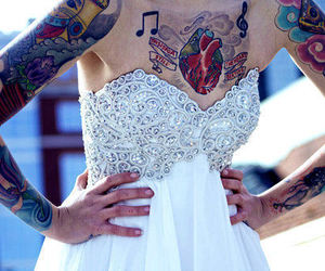 tattoo, girl, and dress image