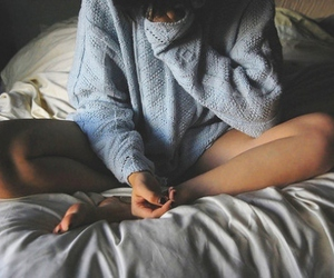 girl, bed, and sweater image