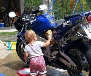 baby, motorbike, and so cute image