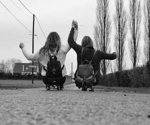 automn, best friends, and black and white image
