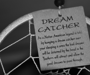 black and white and dream catcher image