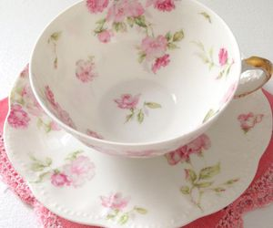 roses, tea cup, and tea image