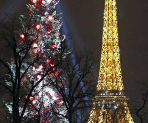 paris, christmas, and eiffel tower image