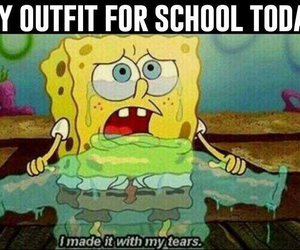 school, tears, and funny image
