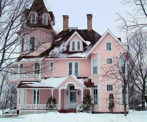 pale, pink, and pink house image