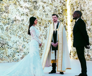 kanye west, kim kardashian, and wedding image