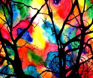 art, trees, and watercolour image