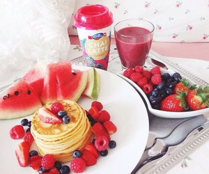 pancakes, fruit, and breakfast image