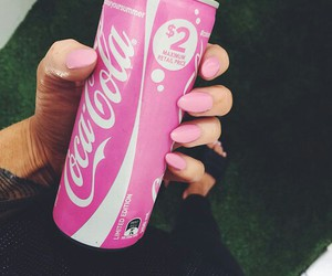 pink, nails, and coca cola image