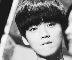 black and white, Chen, and exo image
