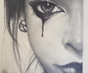 sad, art, and black image
