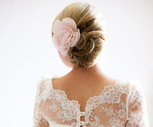 hair, flower, and lace image