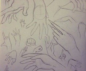 drawning, hands, and pencil image