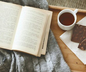 book, chocolate, and tea image