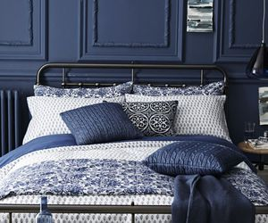 bedroom, blue, and bed image
