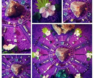 crystals, flowers, and mandala image